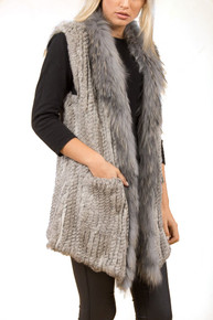 Grey Rabbit and Fox Fur Gilet
