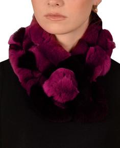 Fuchsia pink and Black Bellringer Fur Scarf