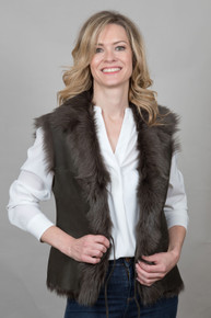 Toscana Sheepskin Gilet in Khaki (