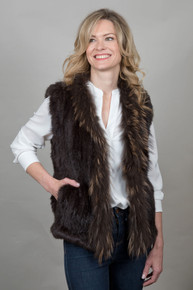 Short Chocolate Brown Rabbit and Fox Fur Gilet