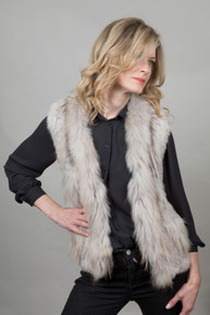 Short Stone Rabbit and Fox Fur Gilet