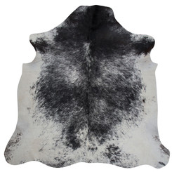 black and white speckled cowhide rug