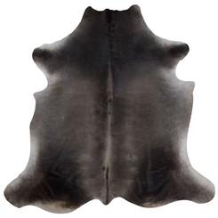 dark brown and grey cowhide rug