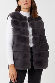 Luxury Pelted Faux Fur Gilet In Grey