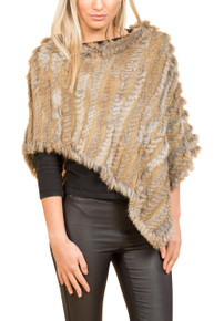 Mocha Rabbit Fur Poncho