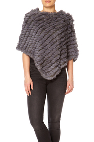 Mid Grey Rabbit Fur Poncho