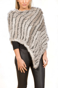 Natural Grey Rabbit Fur Poncho