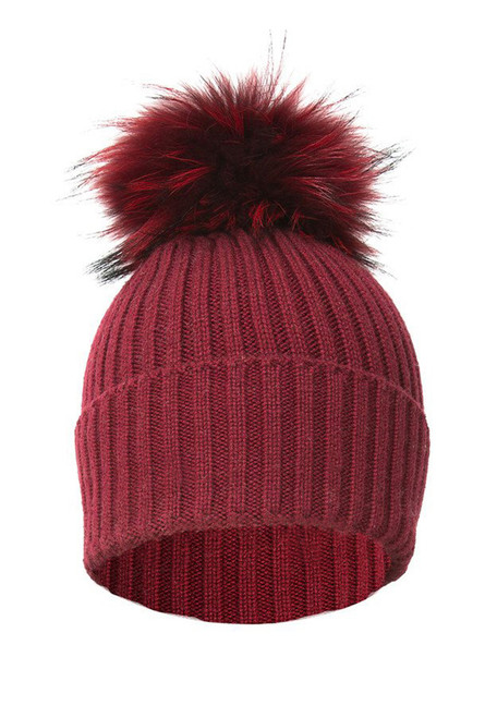 Red Wool and Silk Fox Fur Bobble Hat
