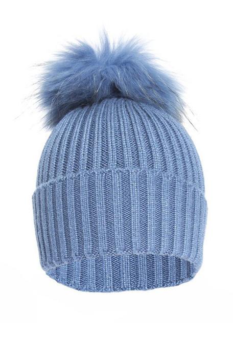 Blue Knitted Fox Fur Bobble Hat