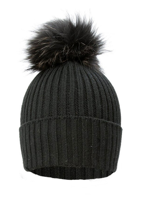 Black Wool and Silk Knitted Fox Fur Bobble Hat