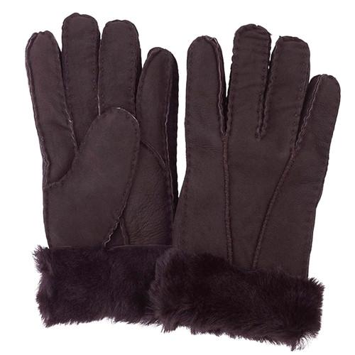 Chocolate brown sheepskin gloves