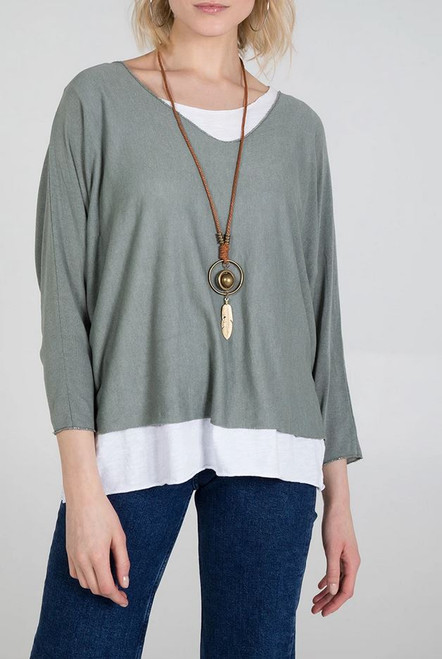 Printed Double Layer Summer Top with Necklace in Khaki