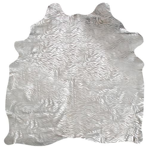 Silver Metallic Zebra Cowhide Rug