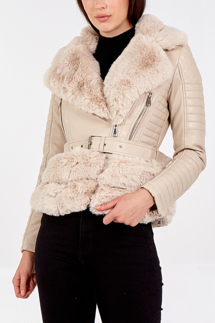 Luxury Faux Fur Trim Biker Jacket in Cream NL7101-02