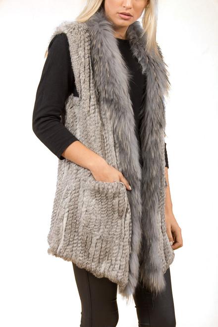 Grey Rabbit and Fox Fur Gilet