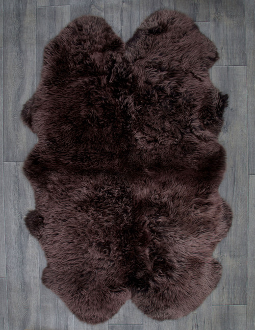 Chocolate Deluxe Quad Sheepskin Rug (195cm x 115cm)