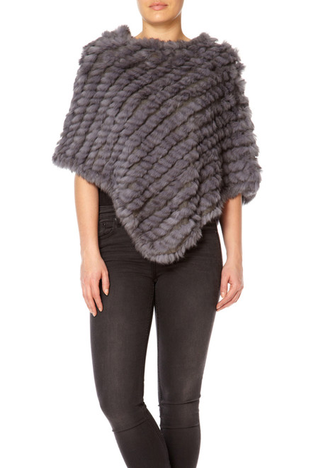 Mid Grey Coney Fur Poncho RF1018A-D03