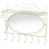 Scrolled Iron Wall Shelf with Hooks and Mirror