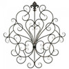 Scrolled Iron Wall Decor with Fleur De Lis Ornament