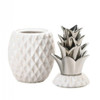 Porcelain Pineapple Jar with Silver Leaves