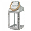 Galvanized Metal Candle Lantern with Rope Handle - 13 inches