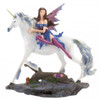 Blue and Purple Fairy and White Unicorn Figurine