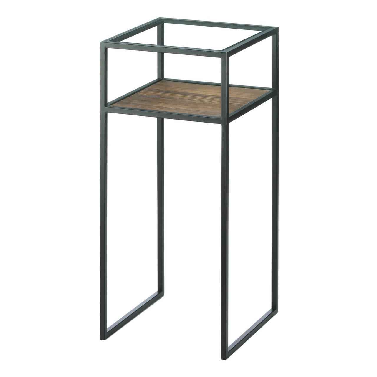 - Glass-Top Industrial Side Table - Square - AEWholesale