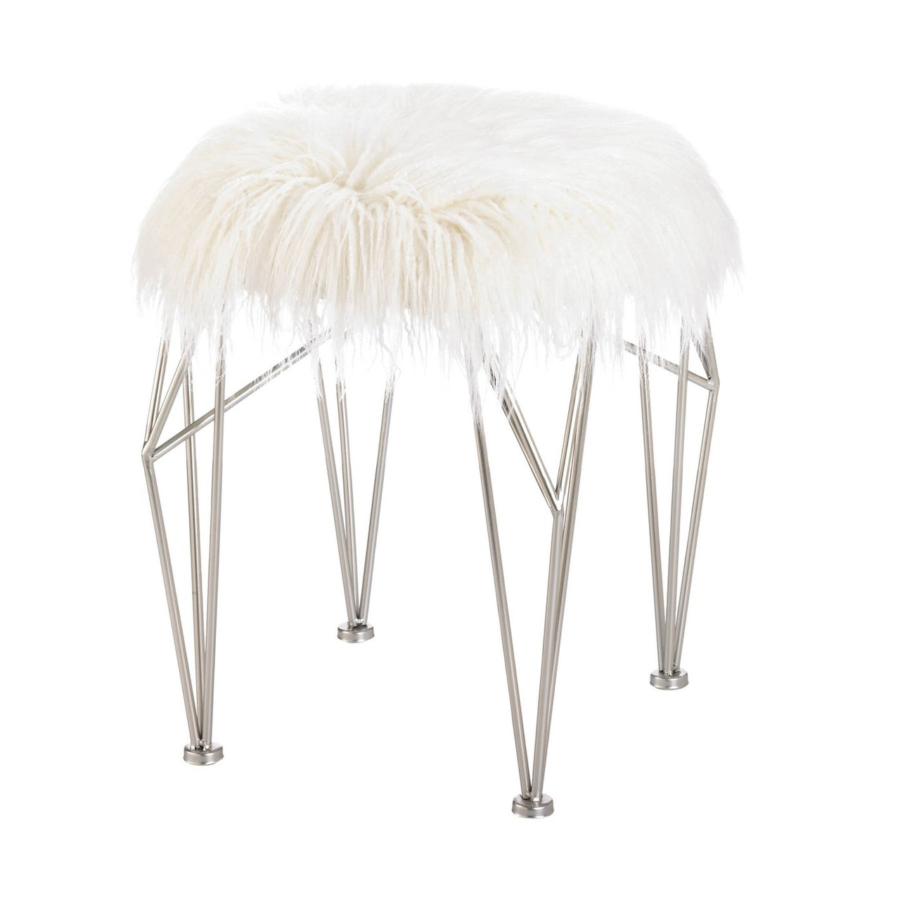 Image of: Silver Geometric Vanity Stool With White Faux Fur Aewholesale
