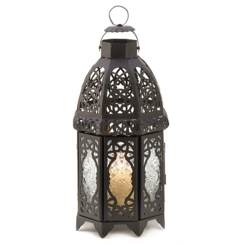 Lacy Cutout Black Candle Lantern - 12 inches