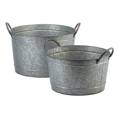 Galvanized Metal Bucket Planter Set
