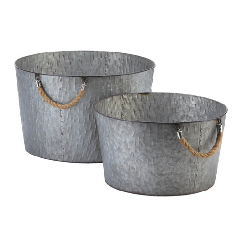 Galvanized Metal Planters with Rope Handles