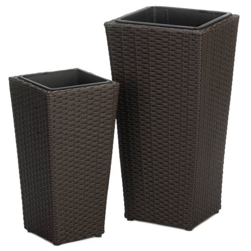 Tuscany Wicker-Look Tall Planter Set