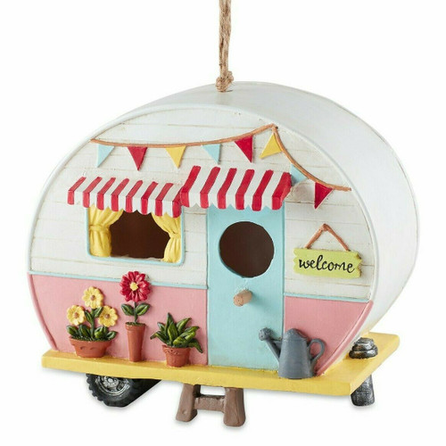 Pink and White Camper Birdhouse