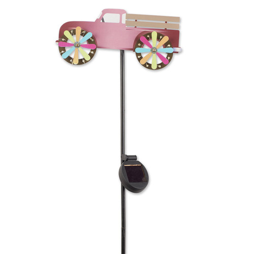 Pink Pick-Up Truck Solar Lighted Garden Stake