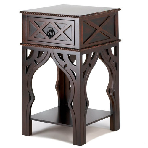 Moroccan-Style Wood Side Table