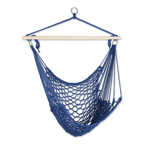 Recycled Cotton Swinging Hammock Chair - Blue