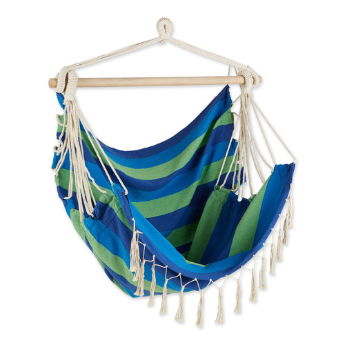 Hammock Chair with Tassel Fringe - Blue and Green Stripes
