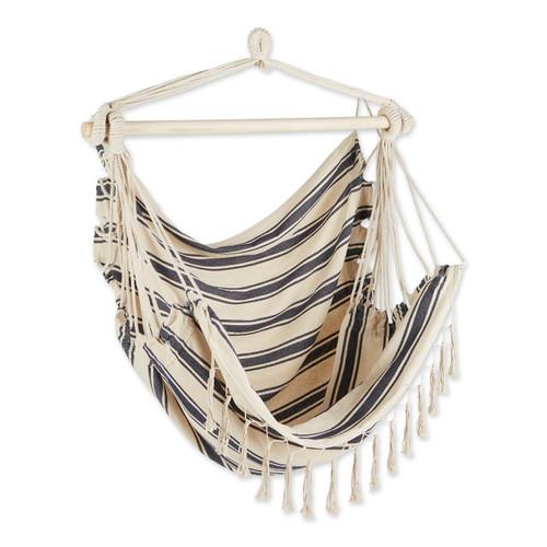 Hammock Chair with Tassel Fringe - Nautical Stripes