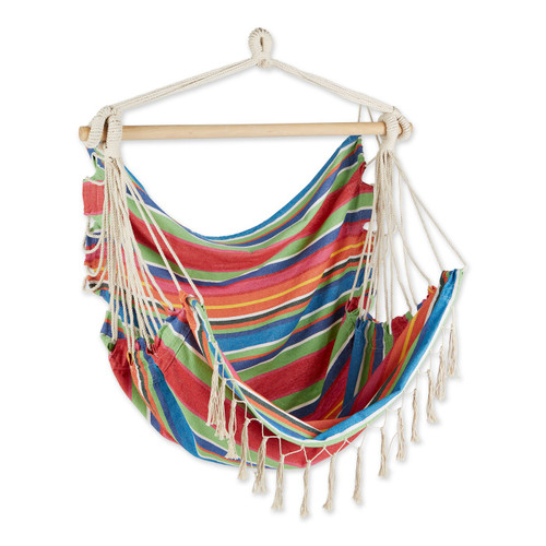 Hammock Chair with Tassel Fringe - Colorful Stripes