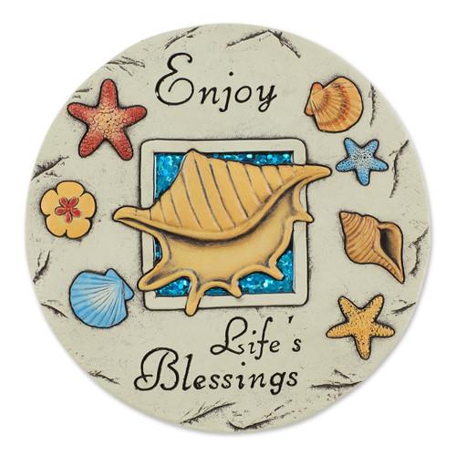 Enjoy Life's Blessings Ocean Shells Cement Stepping Stone