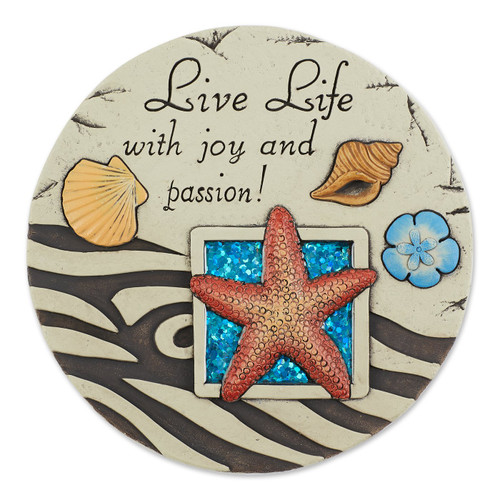 Live Life Ocean Shells Cement Stepping Stone