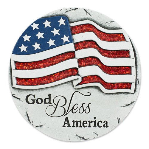 Sparkly God Bless America Cement Garden Stepping Stone