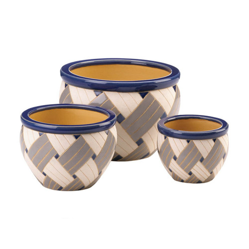 Blue Woven Design Ceramic Planter Set