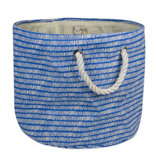 Round Blue Polyester Bin with Rope Handles - 10 inches