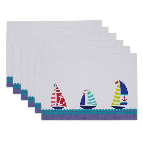 Set of 6 Fabric Placemats - Sailboats