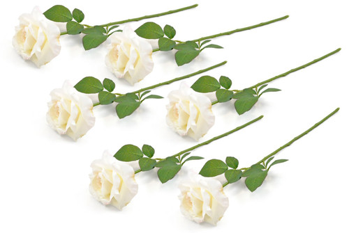 Artificial Flowers - Set of 6 Ivory Open Roses
