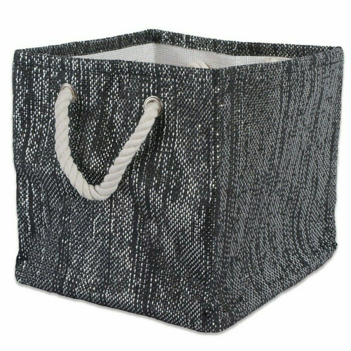 Black and Silver Woven Paper Bin with Rope Handles - 11 inches