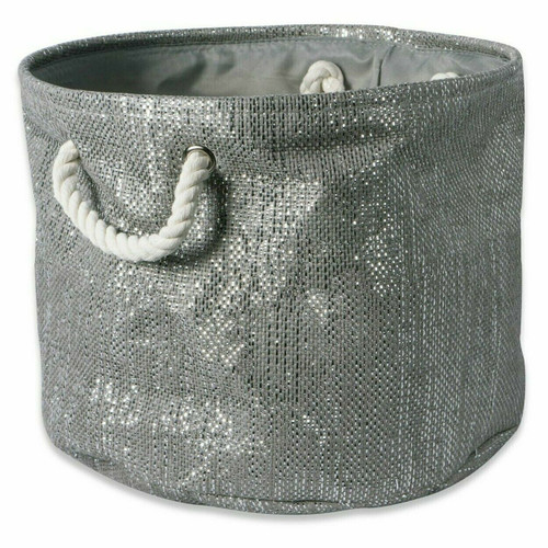 Gray and Silver Round Woven Paper Bin with Rope Handles - 12 inches