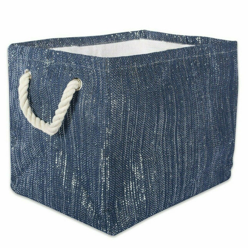 Navy and Silver Woven Paper Bin with Rope Handles - 12 inches