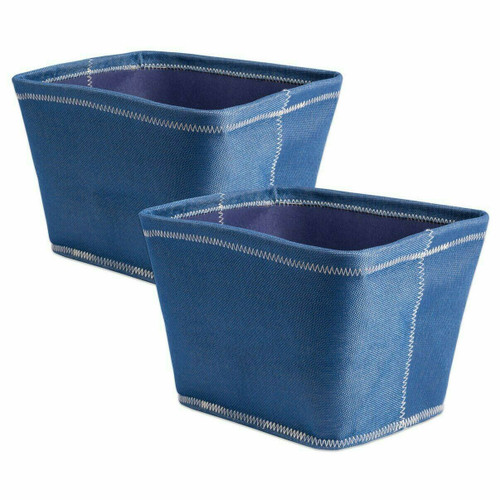 Set of 2 Navy Blue Fabric Storage Bins with Stitching Detail - 8 inches